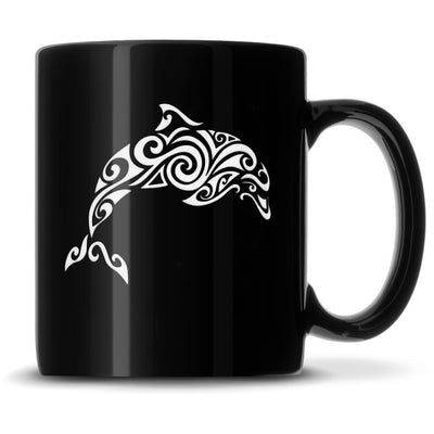 Black Coffee Mug with Tribal Sea Turtle, Deep Etched by Integrity Bottles
