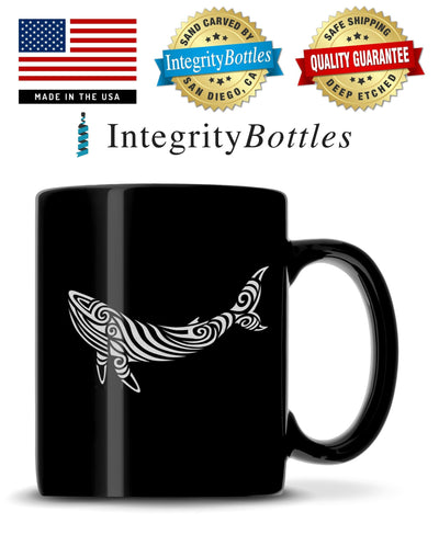 Black Coffee Mug with Tribal Whale Design, Deep Etched by Integrity Bottles