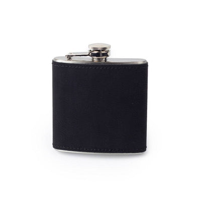 Black Custom Etched Saddle Leather Flask, 6 Ounce Integrity Bottles