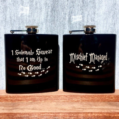 Black Flask(s) with Harry Potter Quotes, Footprints by Integrity Bottles