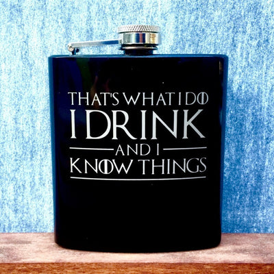 Black Pocket Flask with Game of Thrones Quotes by Integrity Bottles