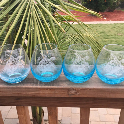 Blue Bubble Glass Bubble Wine Glass Set of 4 with Tribal Sea Turtle Design, Hand Etched by Integrity Bottles