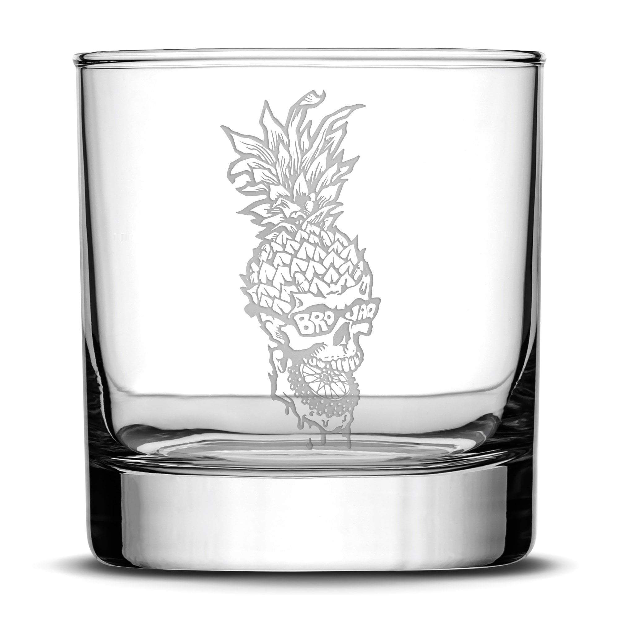 Brojaq Whiskey Glass, Pineapple Skull, 11oz by Integrity Bottles