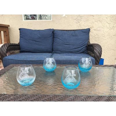 Bubble Wine Glass Set of 4 with Tribal Sea Turtle Design, Hand Etched by Integrity Bottles