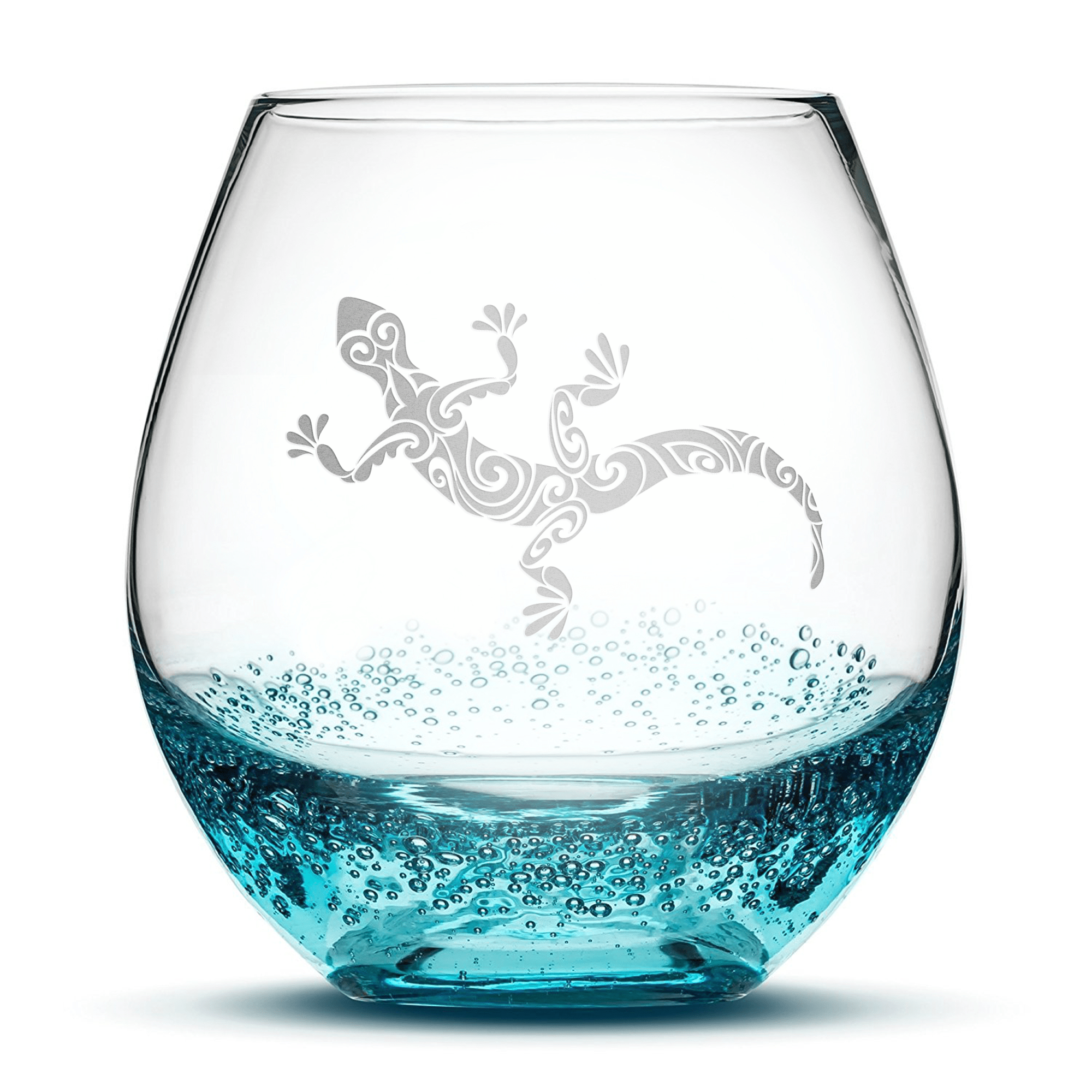 Bubble Wine Glass with Gecko Design, Hand Etched by Integrity Bottles
