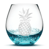 Bubble Wine Glass with Pineapple Design, Hand Etched by Integrity Bottles