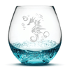 Bubble Wine Glass with Seahorse Design, Hand Etched by Integrity Bottles
