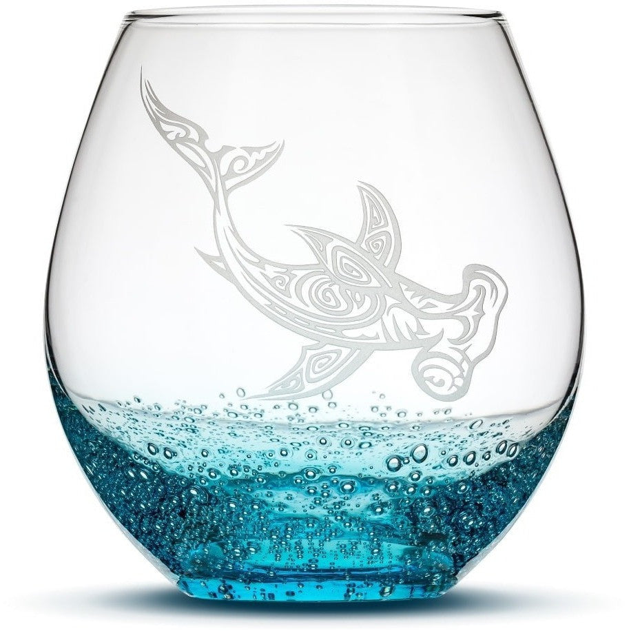 Bubble Wine Glass with Tribal Hammerhead Shark Design, Hand Etched by Integrity Bottles