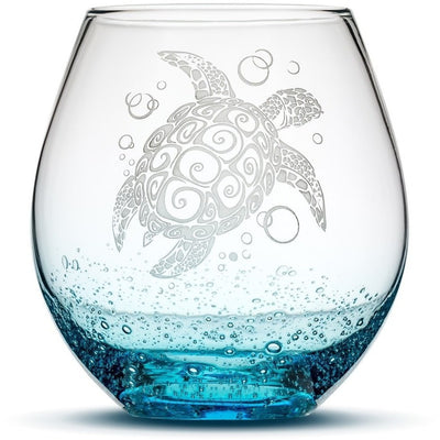 Bubble Wine Glass with Tribal Sea Turtle Design, Set of 4, Hand Etched by Integrity Bottles