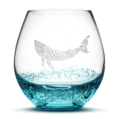 Bubble Wine Glass with Tribal Whale Design, Hand Etched by Integrity Bottles