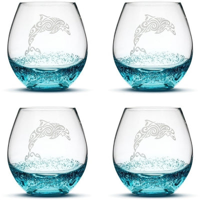 Bubble Wine Glasses with Tribal Dolphin, Set of 4, Hand Etched by Integrity Bottles