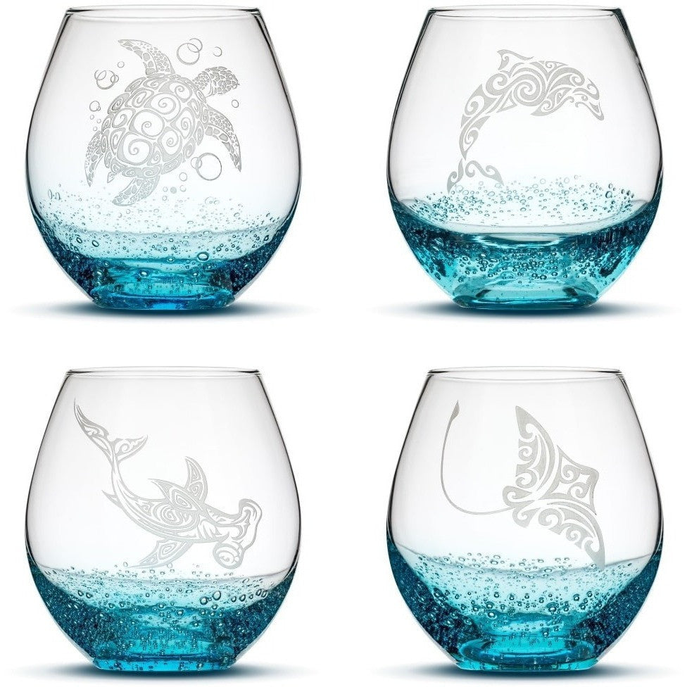 Bubble Wine Glasses with Tribal Sea Animals, Set of 4, One of Each by Integrity Bottles