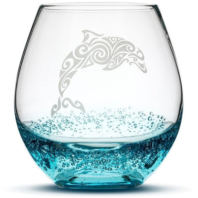 Bubbly Turquoise / Dolphin Choose Your Crackle Wine Glass with Tribal Sea Animal Designs by Integrity Bottles
