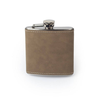 Buckskin Custom Etched Saddle Leather Flask, 6 Ounce Integrity Bottles