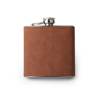 Chestnut Custom Etched Saddle Leather Flask, 6 Ounce Integrity Bottles