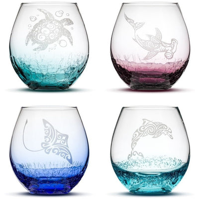 Choose Your Crackle Wine Glass with Tribal Sea Animal Designs by Integrity Bottles