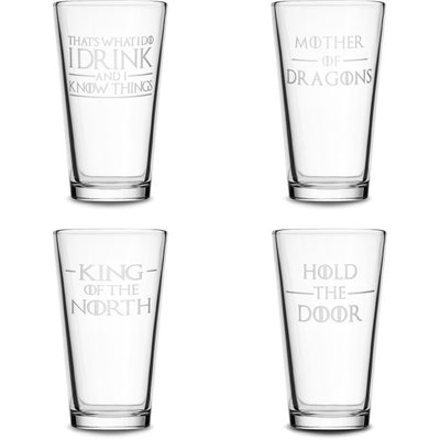 Choose your Pint Glass with Game of Thrones Phrases by Integrity Bottles