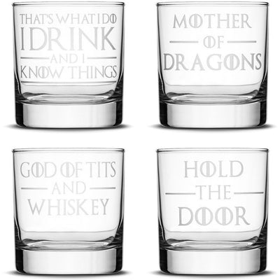 Choose your Whiskey Glass with Game of Thrones Phrases by Integrity Bottles