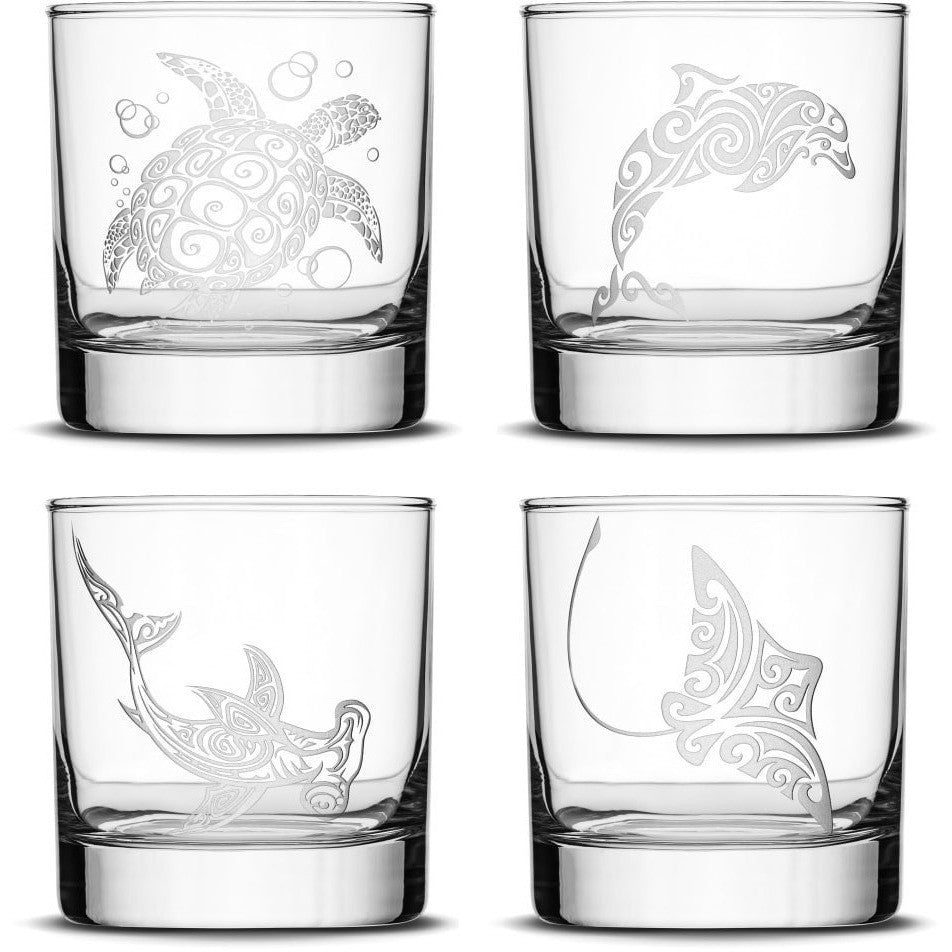 Choose your Whiskey Glass with Tribal Sea Animals by Integrity Bottles