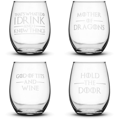 Choose your Wine Glass with Game of Thrones Quotes by Integrity Bottles