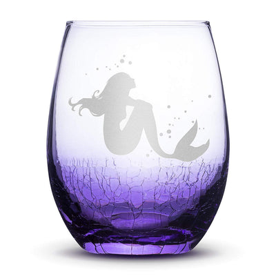 Crackle Light Purple Wine Glass, Mermaid #4 Design, Hand Etched, 16oz Integrity Bottles