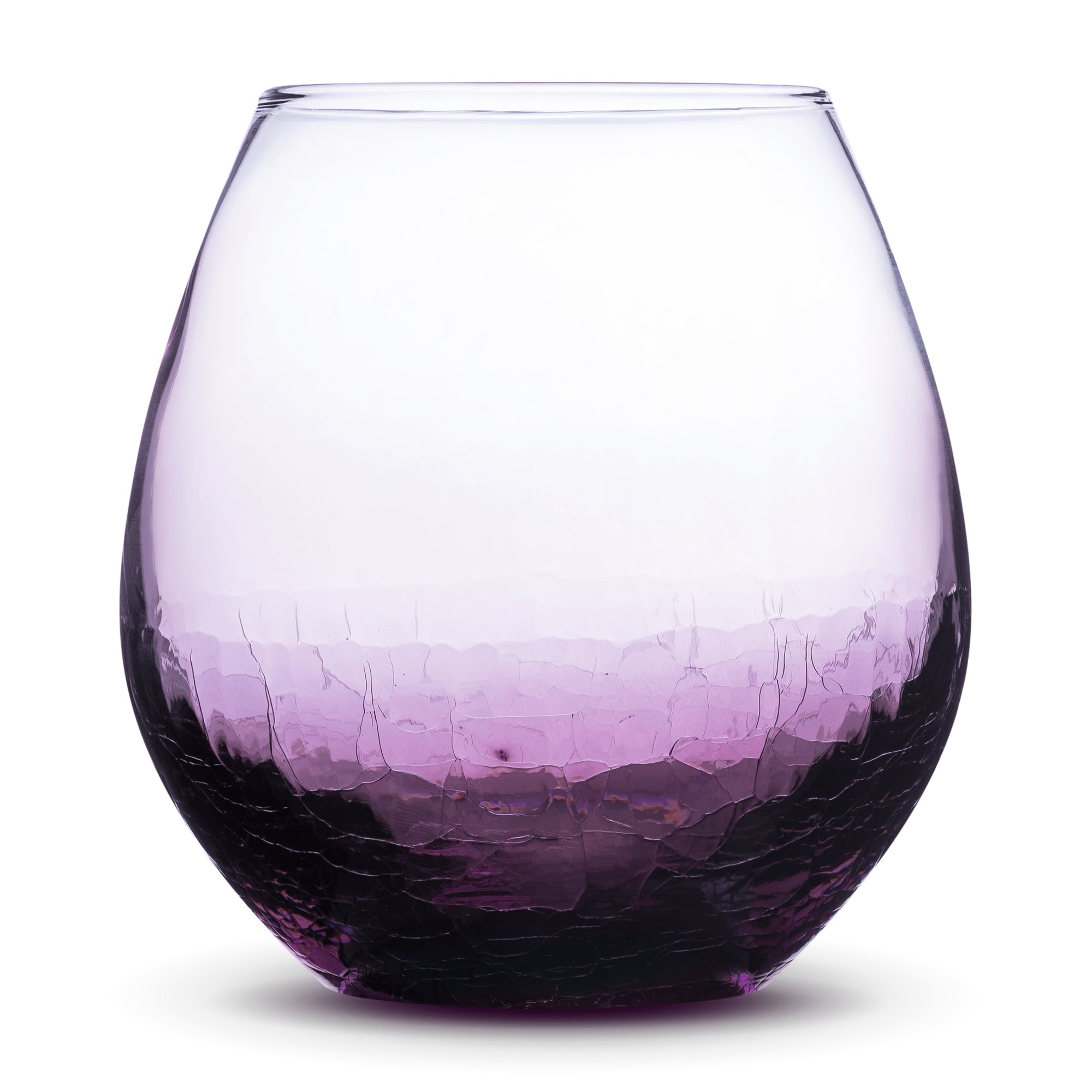 Crackle Purple Wine Glass, Blank Integrity Bottles