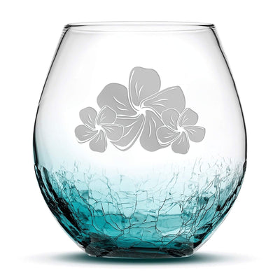 Crackle Teal Wine Glass, Plumeria Design, Hand Etched, 18oz by Integrity Bottles