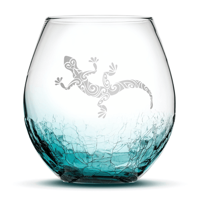 Crackle Teal Wine Glass with Gecko Design, Hand Etched by Integrity Bottles