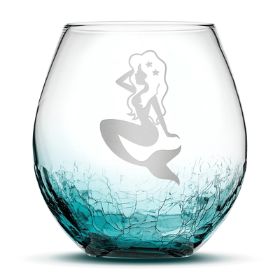 Crackle Teal Wine Glass with Mermaid Design, Hand Etched by Integrity Bottles