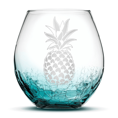 Crackle Teal Wine Glass with Pineapple Design, Hand Etched by Integrity Bottles