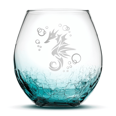 Crackle Teal Wine Glass with Seahorse Design, Hand Etched by Integrity Bottles