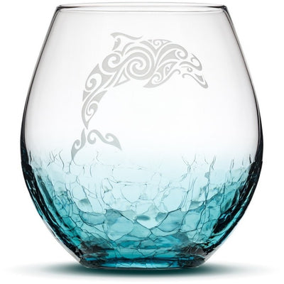 Crackle Teal Wine Glass with Tribal Dolphin, Hand Etched by Integrity Bottles
