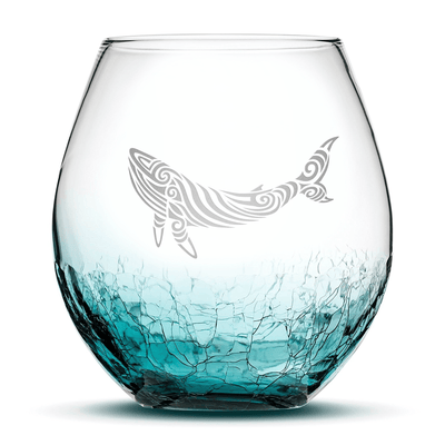 Crackle Teal Wine Glass with Tribal Whale Design, Hand Etched by Integrity Bottles