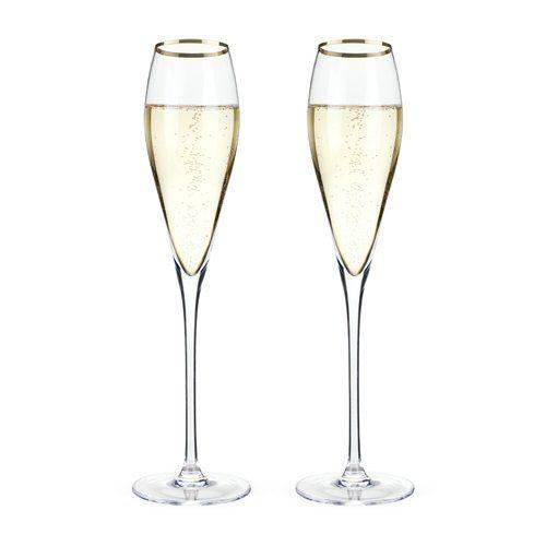Custom Etched Gold Rimmed Crystal Champagne Flute, Set of 2 Integrity Bottles