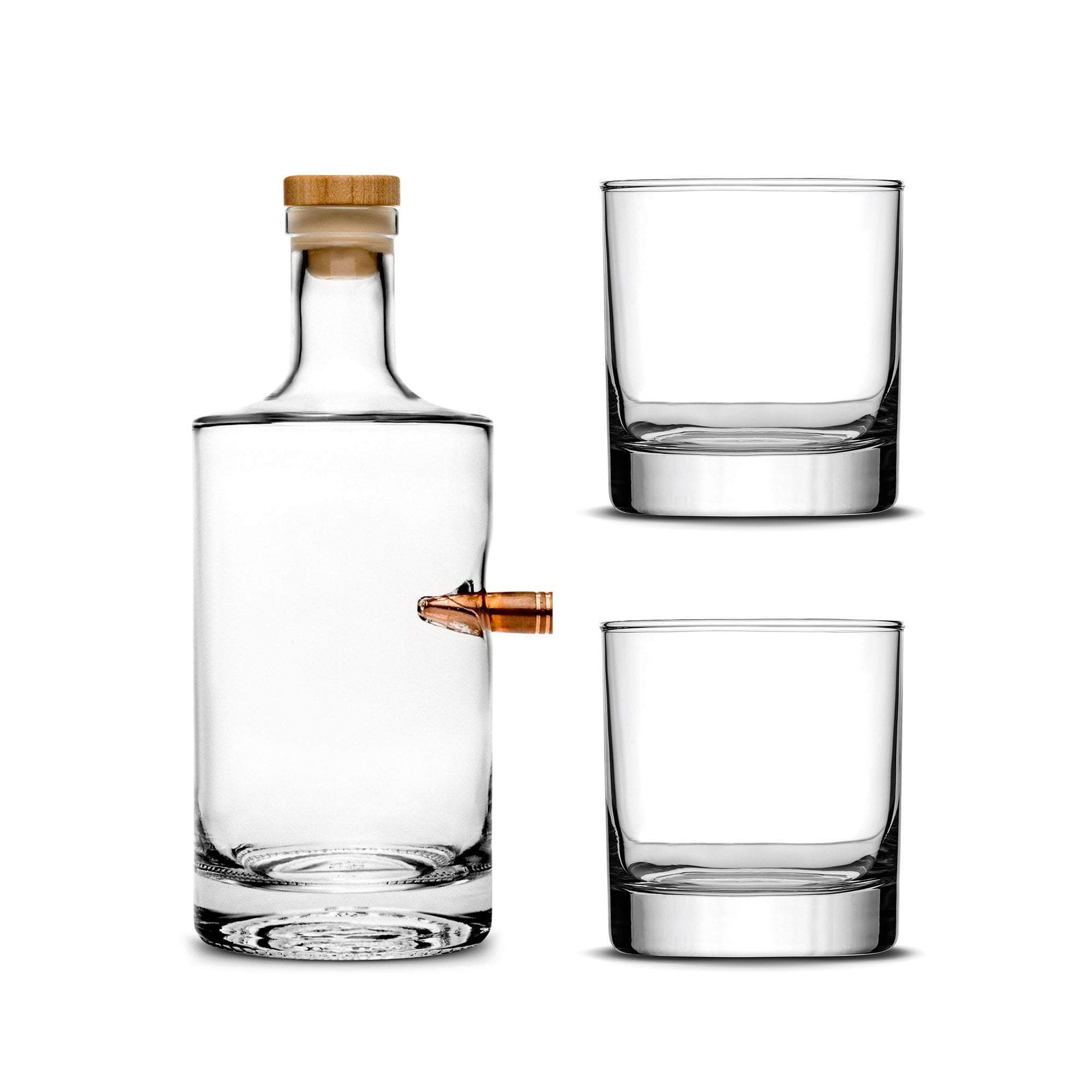 Custom Etched Refillable  50 Cal Jersey Bottle with Set of 2 Custom Whiskey  Glasses
