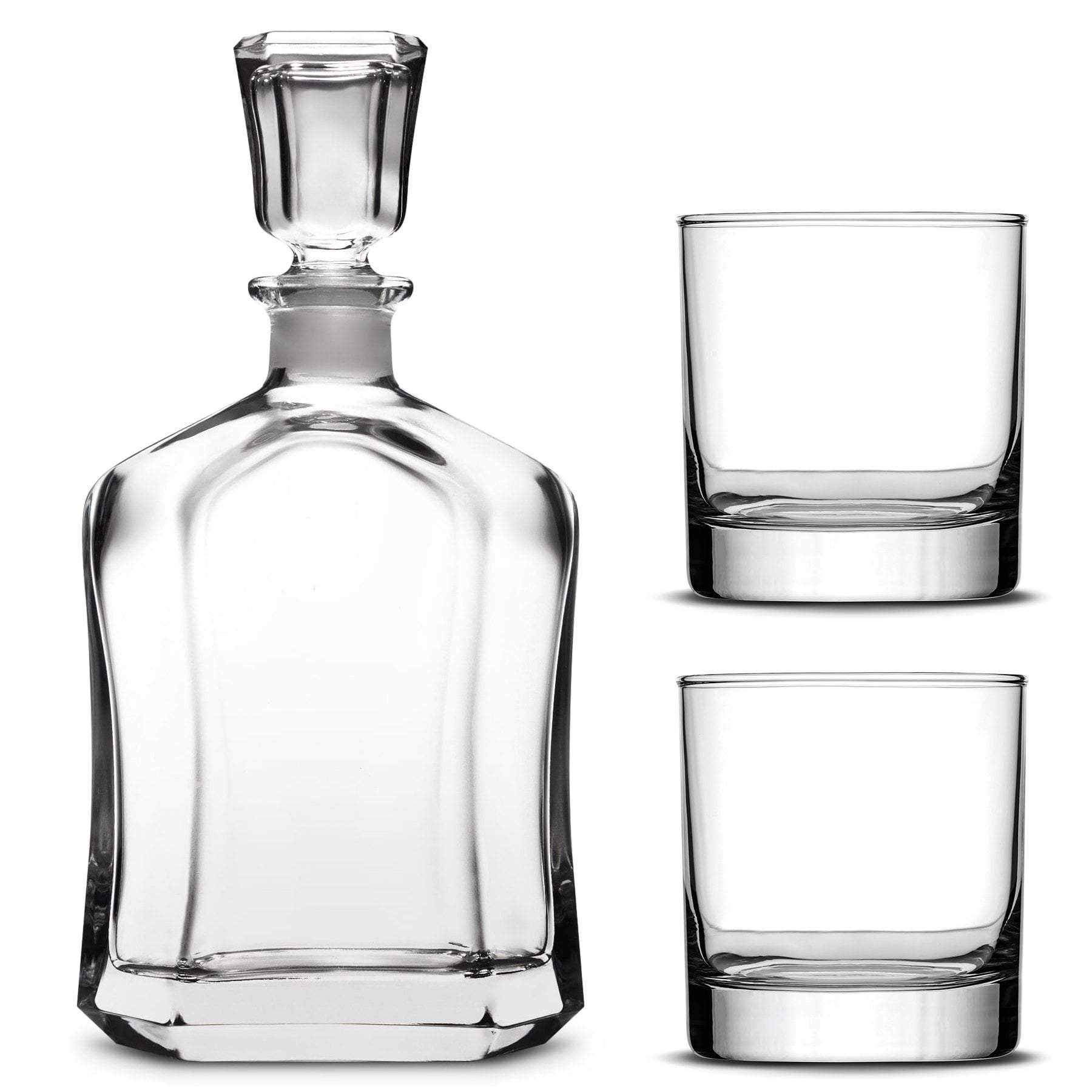 Custom Etched Refillable Capital Decanter with Set of 2 Custom Whiskey Glasses by Integrity Bottles