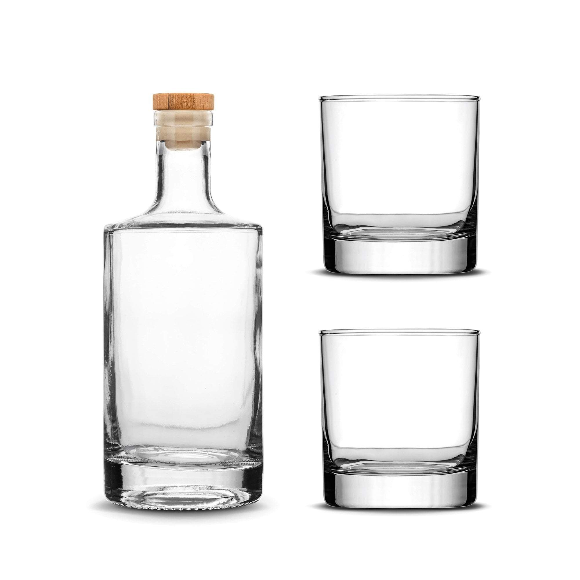 Custom Etched Refillable Jersey Bottle with Set of 2 Custom Whiskey Glasses Integrity Bottles