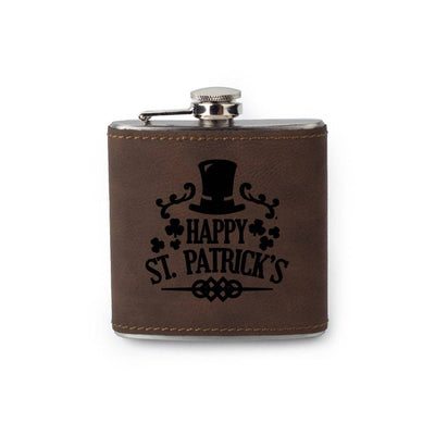 Custom Etched Saddle Leather Flask, 6 Ounce Integrity Bottles