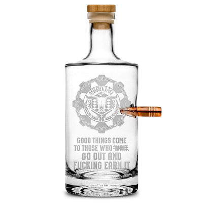Deep Etch (no color) Premium .50 Cal BMG Bullet Bottle, Jersey Whiskey Decanter, Brojaq Sprocket, 750mL Integrity Bottles