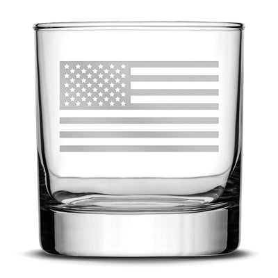Deep Etch (no color) Premium Whiskey Glass, American Flag, 11oz Integrity Bottles