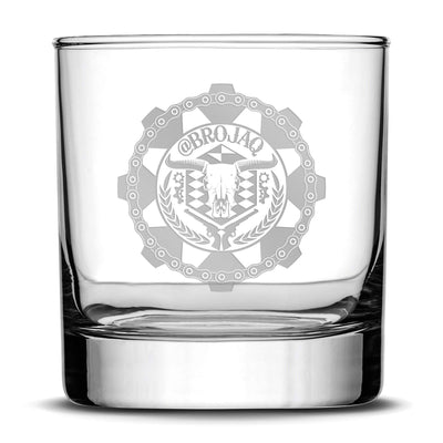 Deep Etch (no color) Premium Whiskey Glass, Hand-Etched Liquor and Rocks Tumbler, Old Fashioned Brojaq Sprocket, Made in USA, 11oz Integrity Bottles