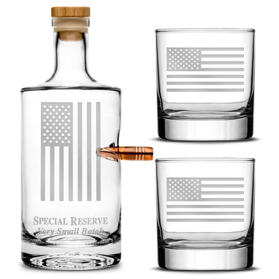 Deep Etched (no color) Premium .50 Cal BMG Bullet Bottle Gift Set - Round Jersey Whiskey Decanter with Cork Stopper, Hand-Etched American Flag - Bourbon, Tequila, Vodka, Scotch, Cognac - 750ml Integrity Bottles