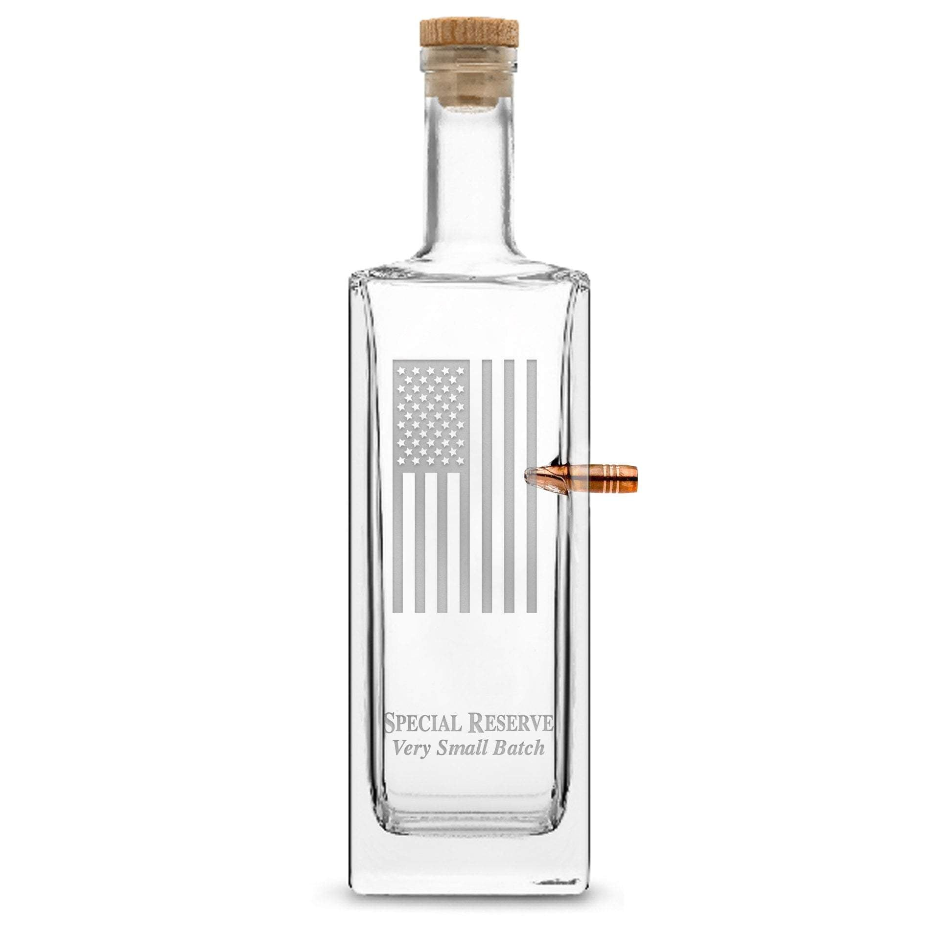 Deep Etched (no color) Premium .50 Cal BMG Bullet Bottle, Liberty Whiskey Decanter with Cork Stopper, American Flag, 750mL by Integrity Bottles