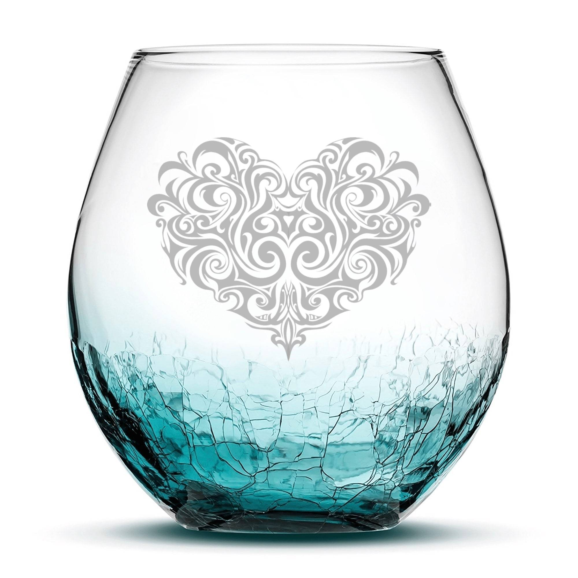 Default Title Crackle Wine Glass with Tribal Heart Design, Teal Integrity Bottles