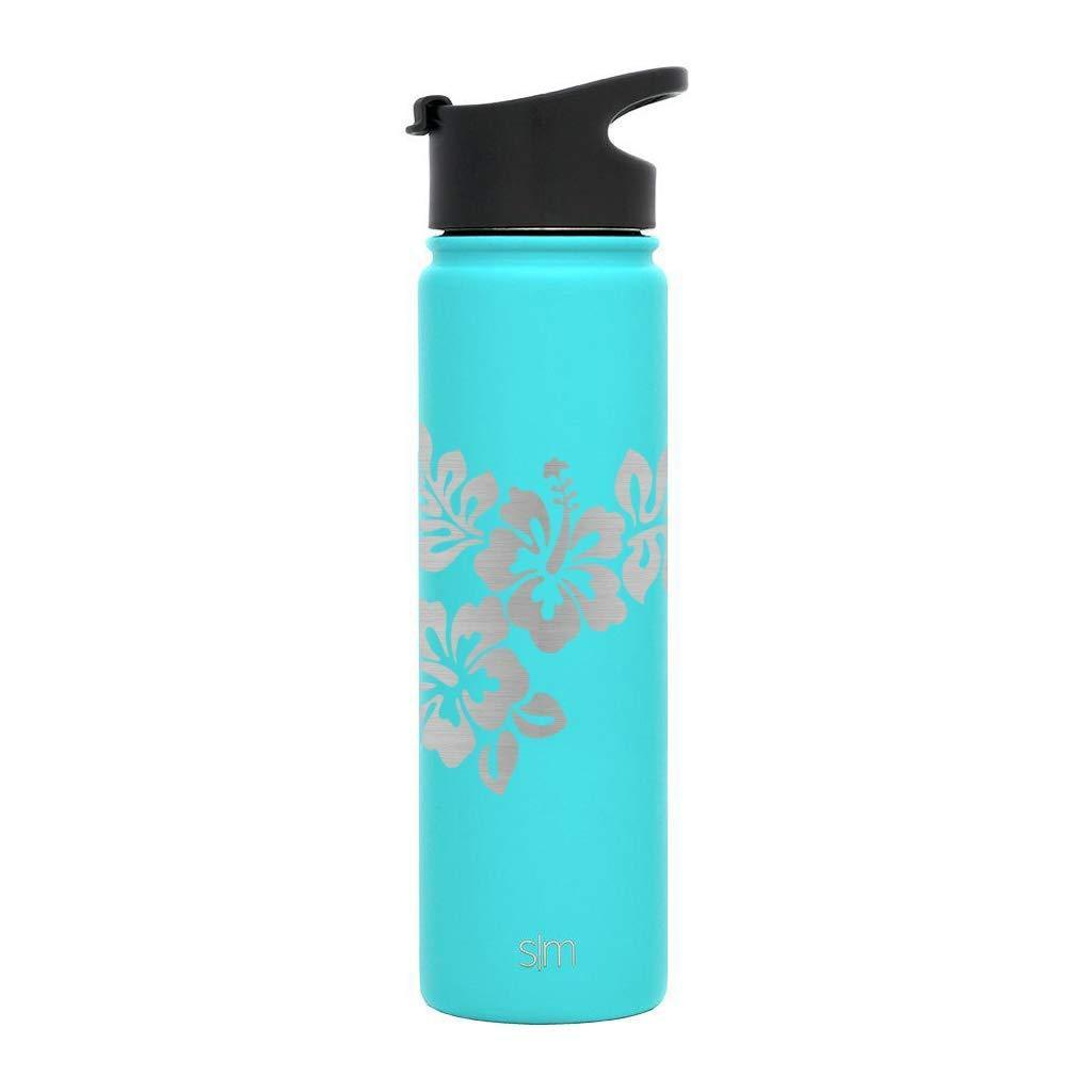 Default Title Premium Stainless Steel Water Bottle, Hibiscus Design, Extra Lid, 22oz (Caribbean Teal) Integrity Bottles