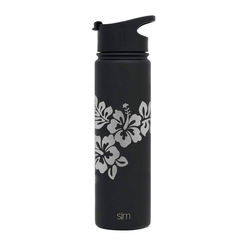 Default Title Premium Stainless Steel Water Bottle, Hibiscus Design, Extra Lid, 22oz (Midnight Black) Integrity Bottles