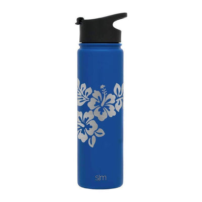 Default Title Premium Stainless Steel Water Bottle, Hibiscus Design, Extra Lid, 22oz (Twilight Blue) Integrity Bottles