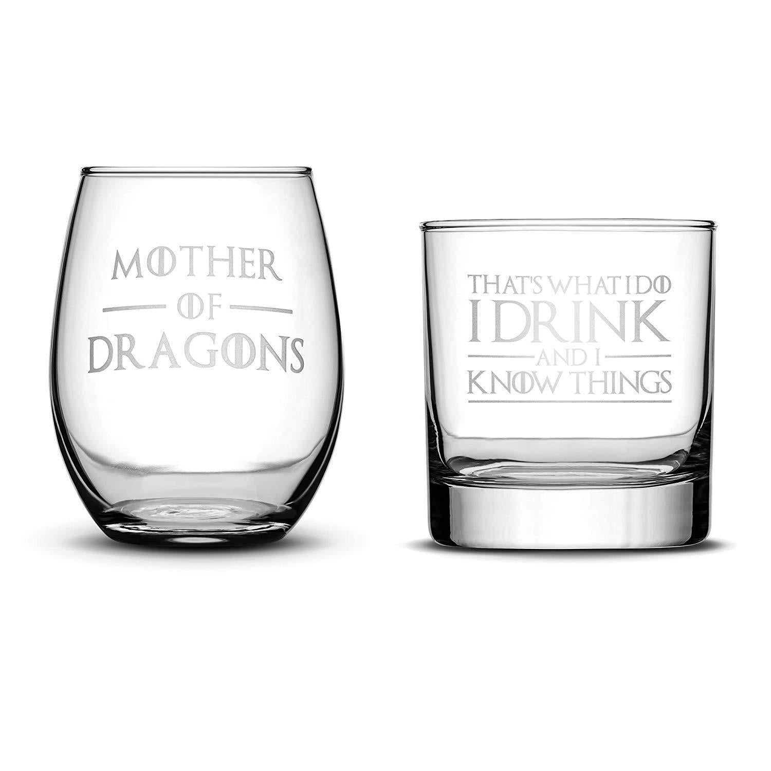 Default Title Premium Wine Glass (Mother of Dragons), Whiskey Glass (I Drink and I Know Things), Set of 2 Integrity Bottles