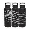 Full 360° All American Flag, Stainless Steel, 40 oz, Midnight Black, Water Bottle with extra lid, by Leitlein Design by Integrity Bottles