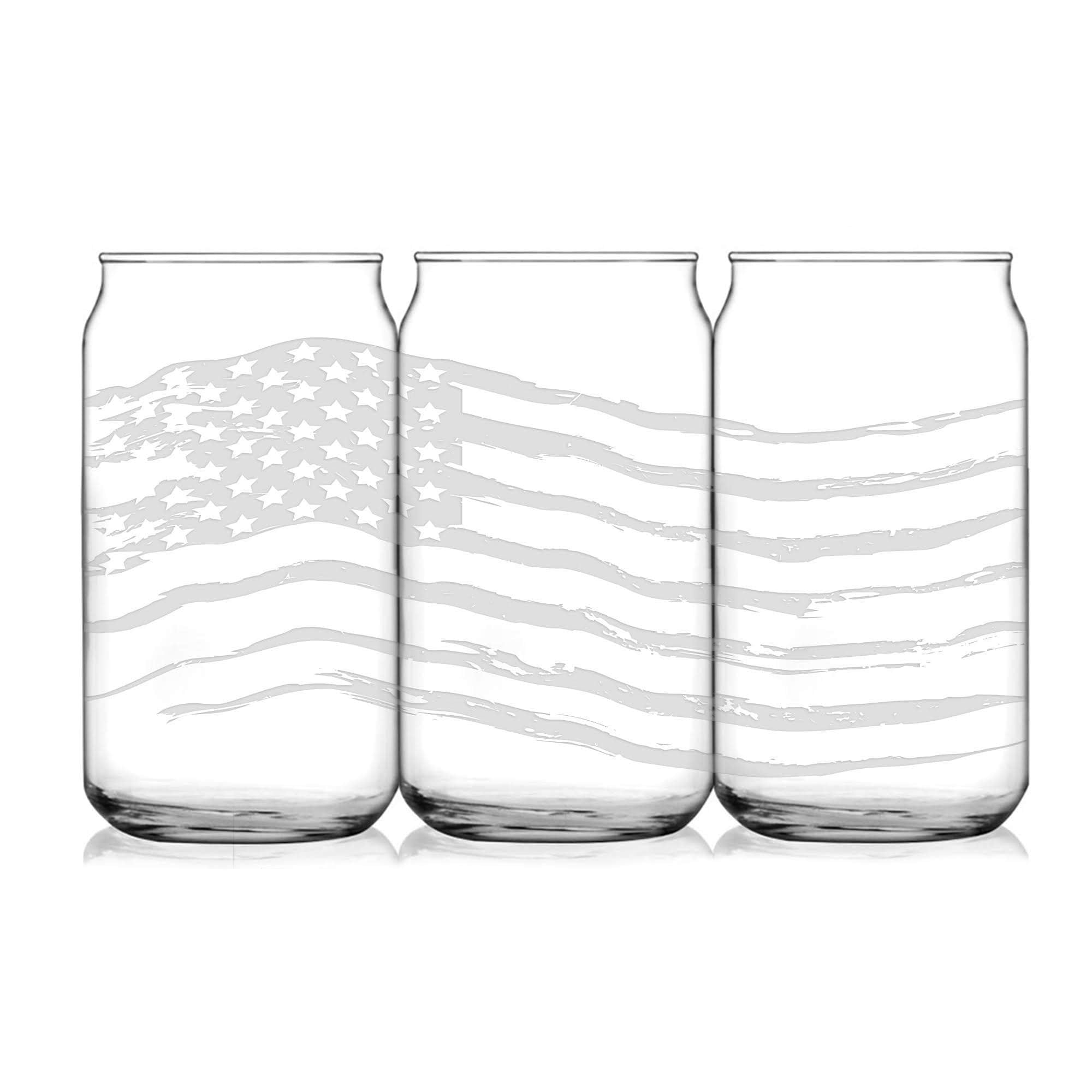 Full 360° Etched, All American Flag, 16 oz, Beer Can Glass by Integrity Bottles